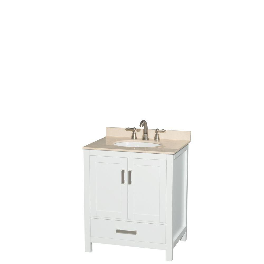 Sheffield 30-inch W Vanity in White with Marble Top in Ivory and Oval Sink