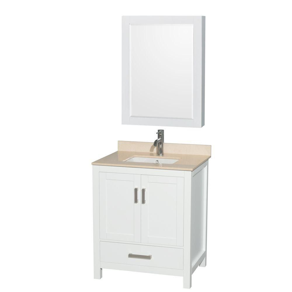 Wyndham Collection Sheffield 30-inch W 1-Drawer 2-Door Vanity in White With Marble Top in Beige Tan With Mirror