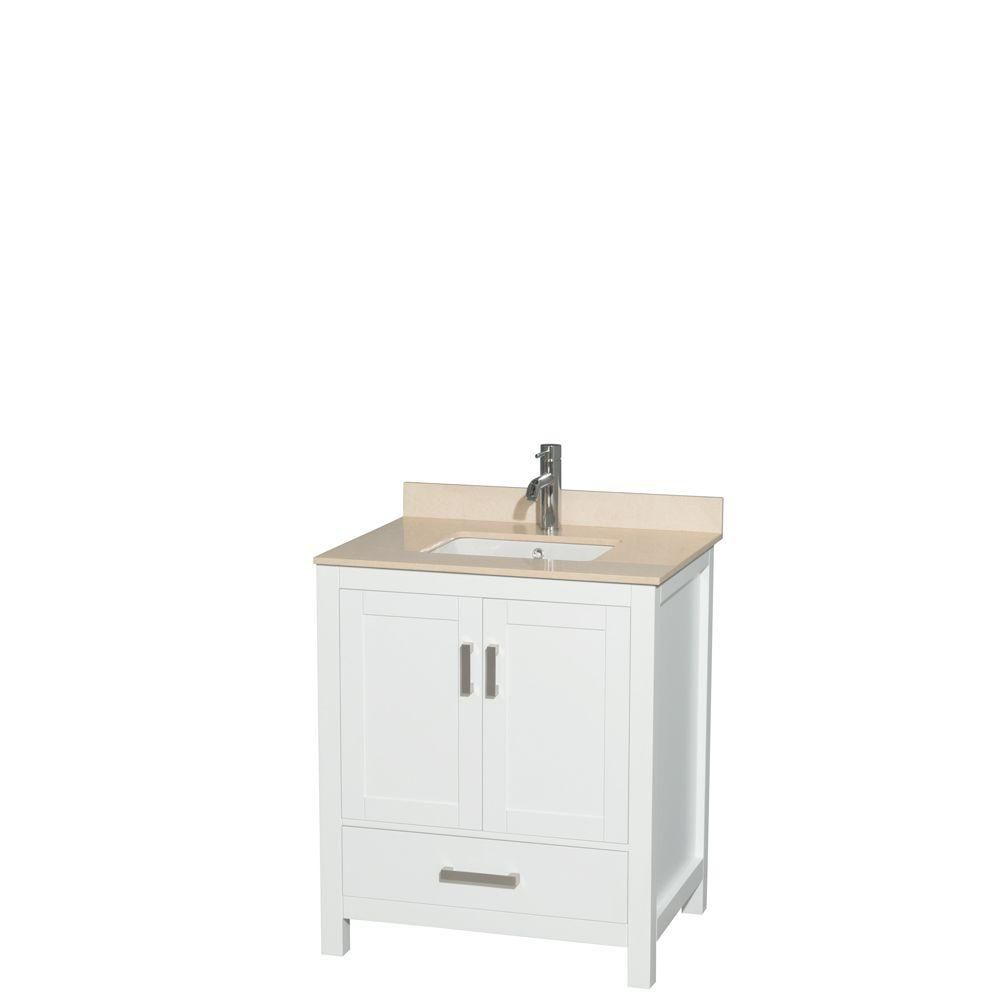 Sheffield 30-inch W Vanity in White with Marble Top in Ivory and Square Sink