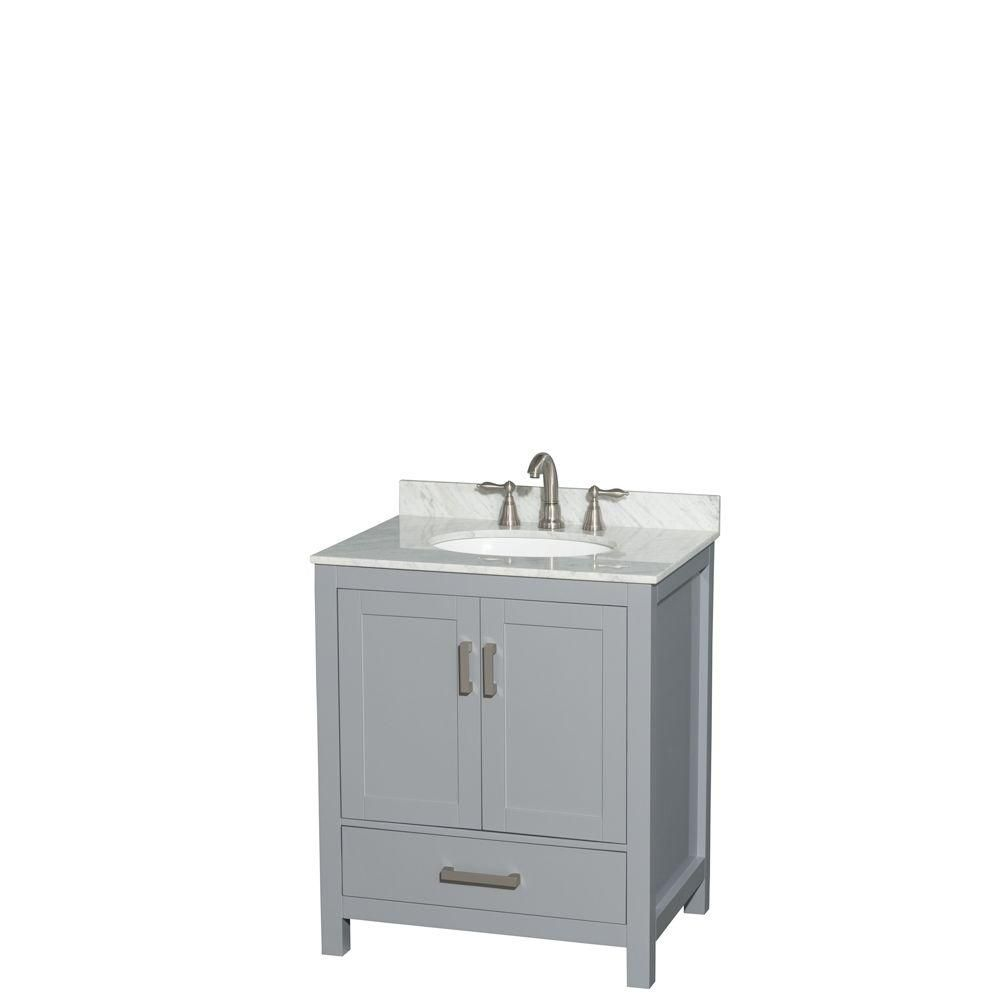 Wyndham Collection Sheffield 30-inch W 1-Drawer 2-Door Freestanding Vanity in Grey With Marble Top in White