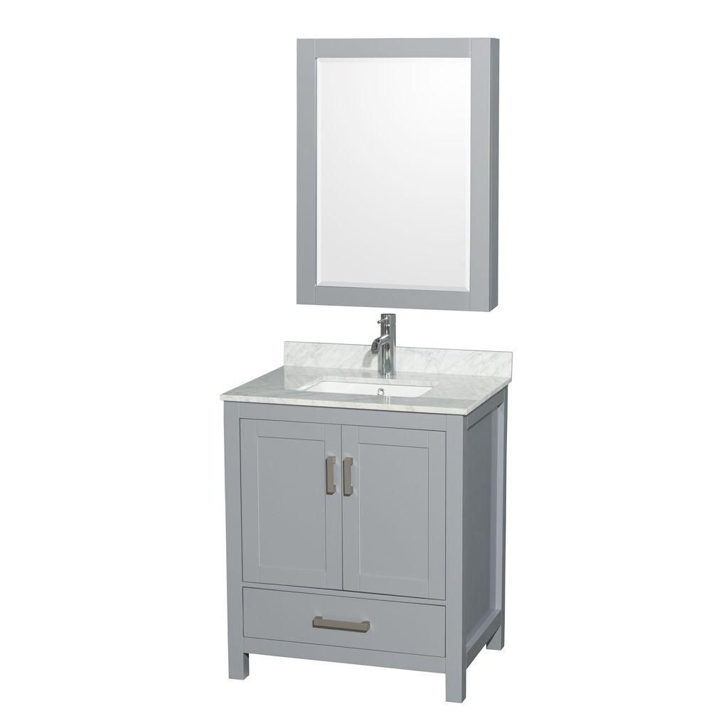 Wyndham Collection Sheffield 30-inch W 1-Drawer 2-Door Freestanding Vanity in Grey With Marble Top in White With Mirror