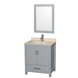 Wyndham Collection Sheffield 30-inch W 1-Drawer 2-Door Vanity in Grey With Marble Top in Beige Tan With Mirror