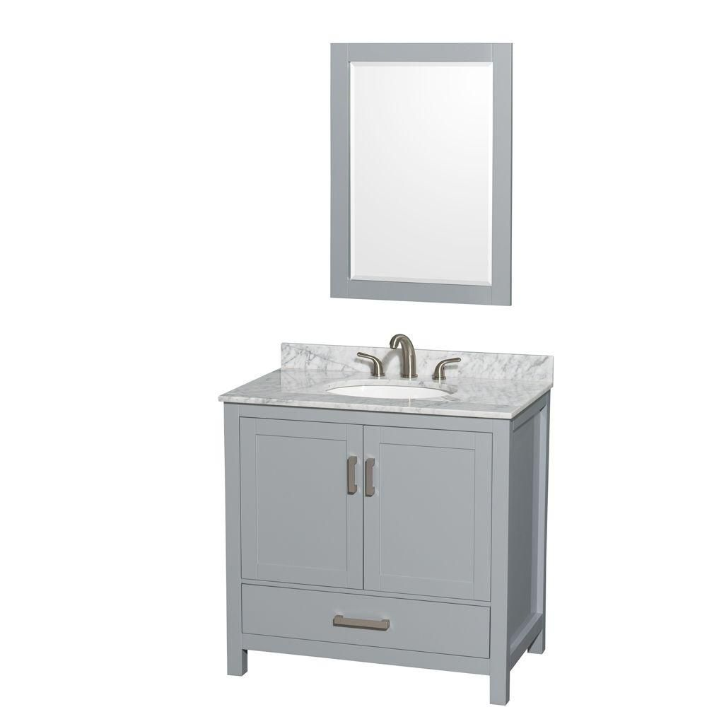 Sheffield 36-inch W Vanity in Grey with Marble Top, Oval Sink and 24-inch Mirror