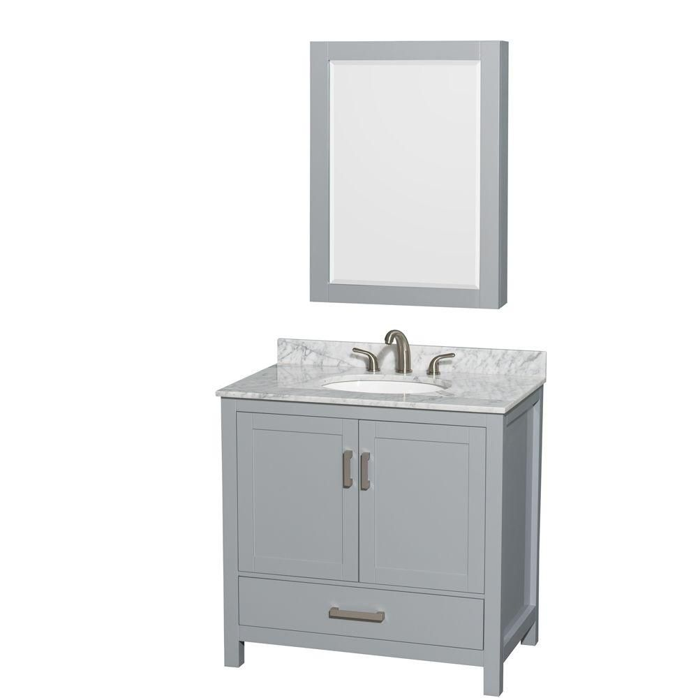 Wyndham Collection Sheffield 36-inch W 1-Drawer 2-Door Freestanding Vanity With Marble Top in White With Mirror