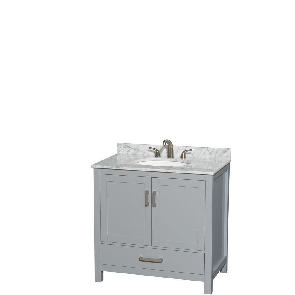 Sheffield 36-inch W Vanity in Grey with Marble Top in Carrara White and Oval Sink