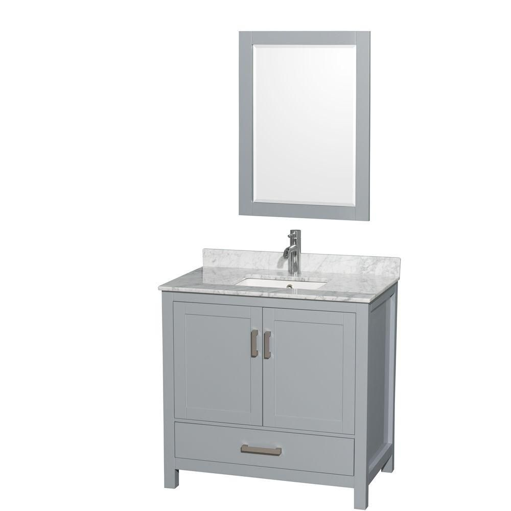 Sheffield 36-inch W Vanity in Grey with Marble Top, Square Sink and Mirror