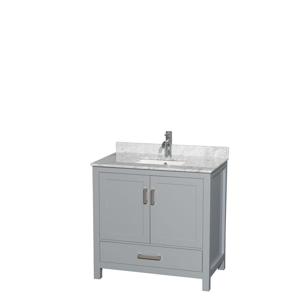 Sheffield 36-inch W Vanity in Grey with Marble Top in Carrara White and Square Sink