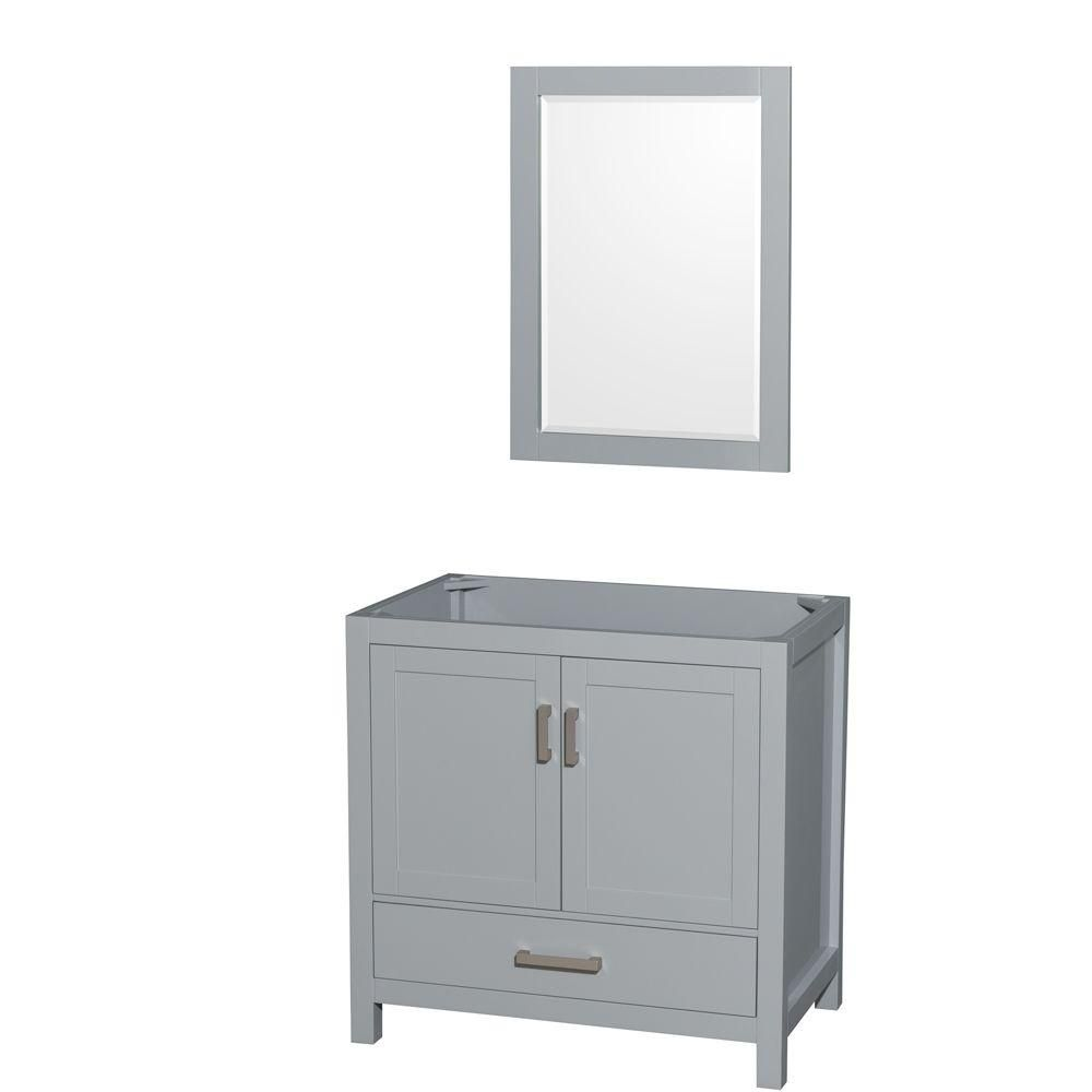 Wyndham Collection Sheffield 36-Inch  Vanity Cabinet with Mirror in Grey