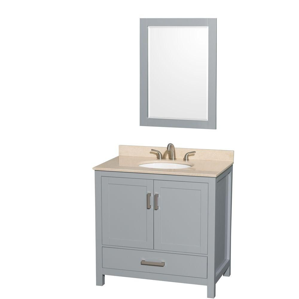 Sheffield 36-inch W Vanity in Grey with Marble Top, Oval Sink and Mirror