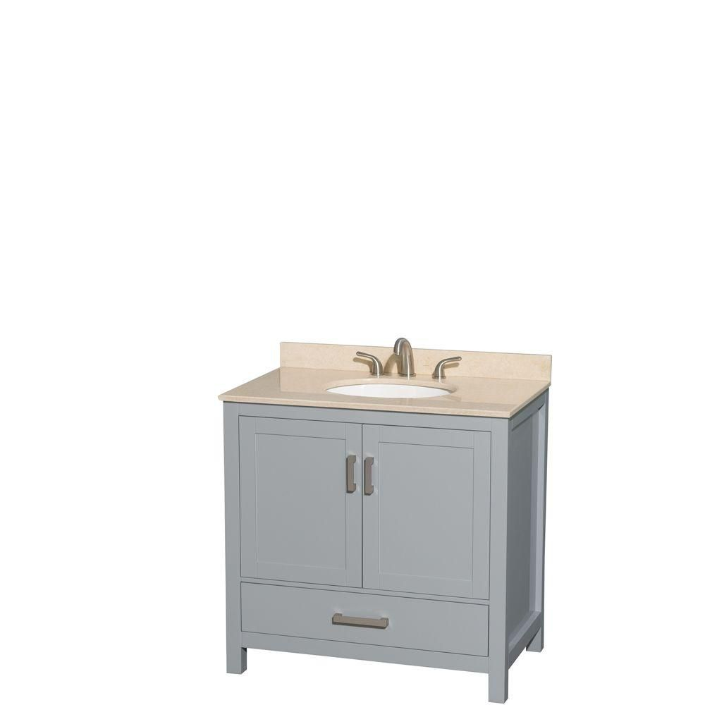 Sheffield 36-inch W Vanity in Grey with Marble Top in Ivory and Oval Sink