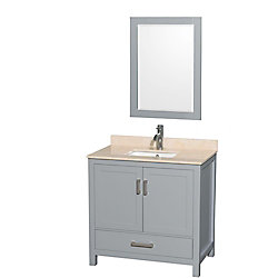 Wyndham Collection Sheffield 36-inch W 1-Drawer 2-Door Freestanding Vanity With Marble Top in Beige Tan With Mirror
