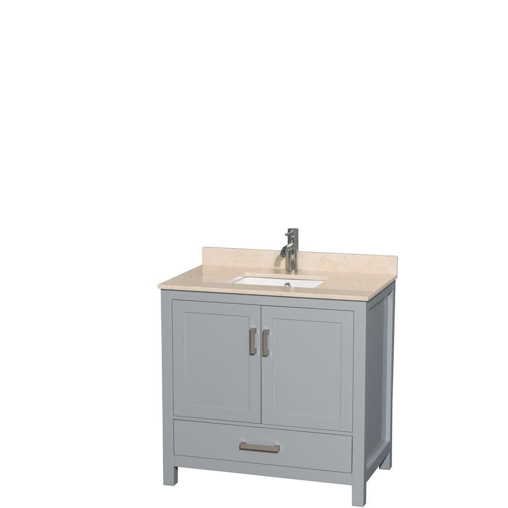 Sheffield 36-inch W Vanity in Grey with Marble Top in Ivory and Square Sink