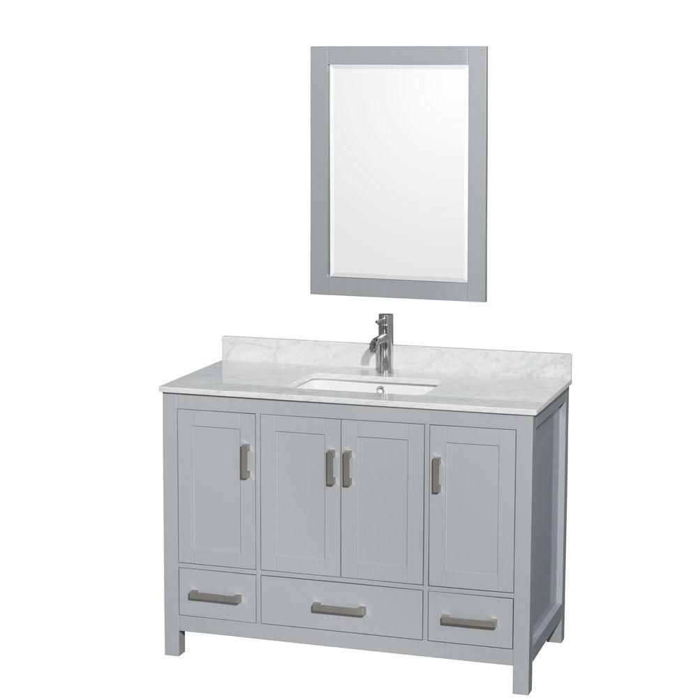 Wyndham Collection Sheffield 48-inch W 3-Drawer 4-Door Freestanding Vanity in Grey With Marble Top in White With Mirror