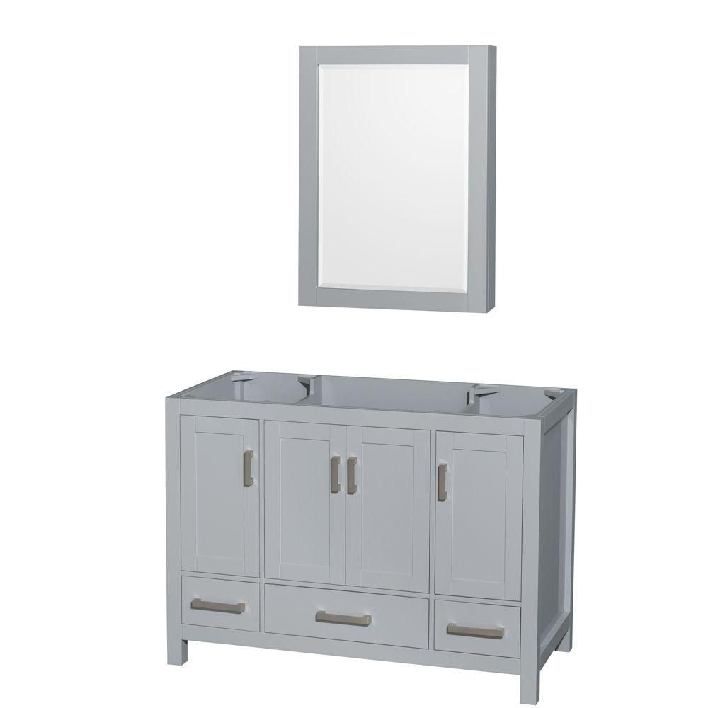 Wyndham Collection Sheffield 48-Inch  Vanity Cabinet with Medicine Cabinet in Grey