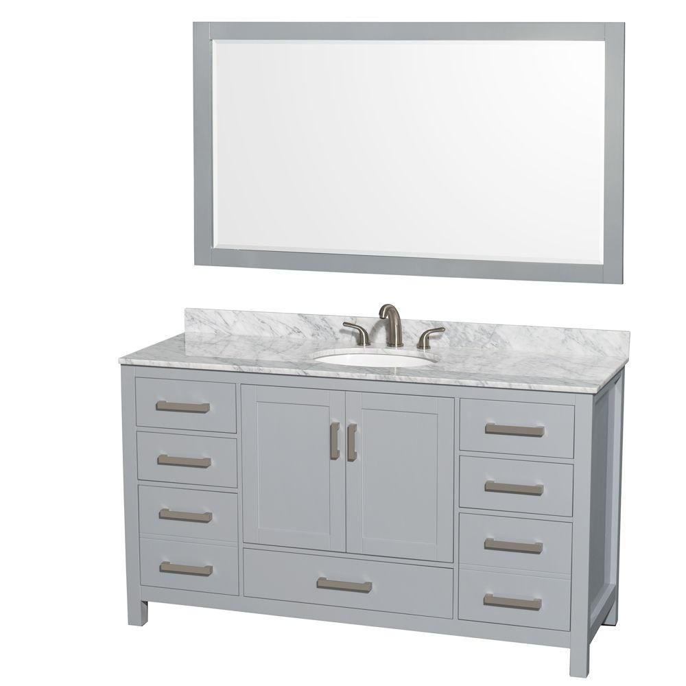 Sheffield 60-inch W Vanity in Grey with Marble Top, Oval Sink and Mirror