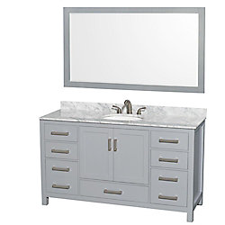 Wyndham Collection Sheffield 60-inch W 7-Drawer 2-Door Freestanding Vanity in Grey With Marble Top in White With Mirror
