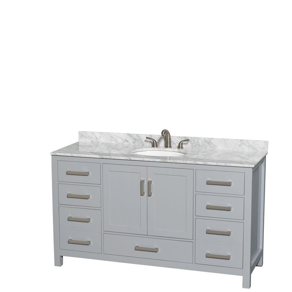Sheffield 60-inch W Vanity in Grey with Marble Top in Carrara White and Oval Sink
