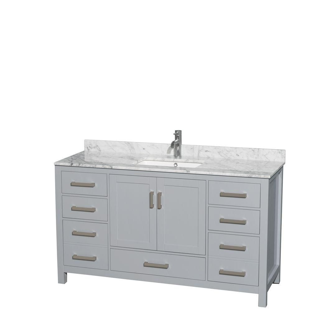 """Meuble s. bains simple Sheffield 60"""" gris, comptoir marbre Carrera blanc, éviers carrés, pas miro..."""