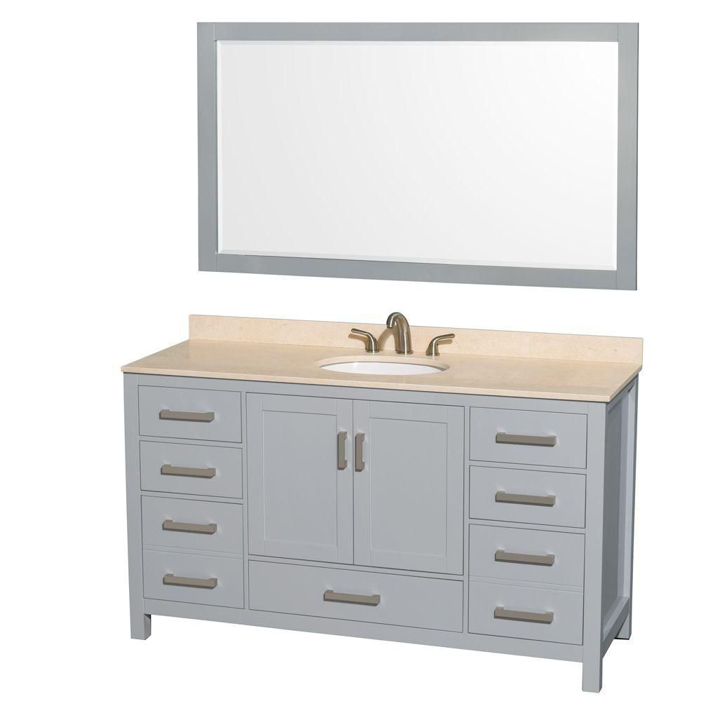 Sheffield 60-inch W Vanity in Grey with Marble Top, Oval Sink and 58-inch Mirror