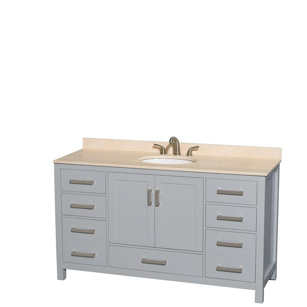 Sheffield 60-inch W Vanity in Grey with Marble Top in Ivory and Oval Sink