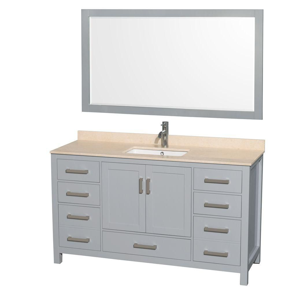 """Meuble s. bains simple Sheffield 60"""" gris, comptoir marbre ivoire, évier carré, miroir 58"""""""