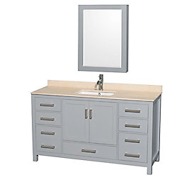 Wyndham Collection Sheffield 60-inch W 7-Drawer 2-Door Vanity in Grey With Marble Top in Beige Tan With Mirror