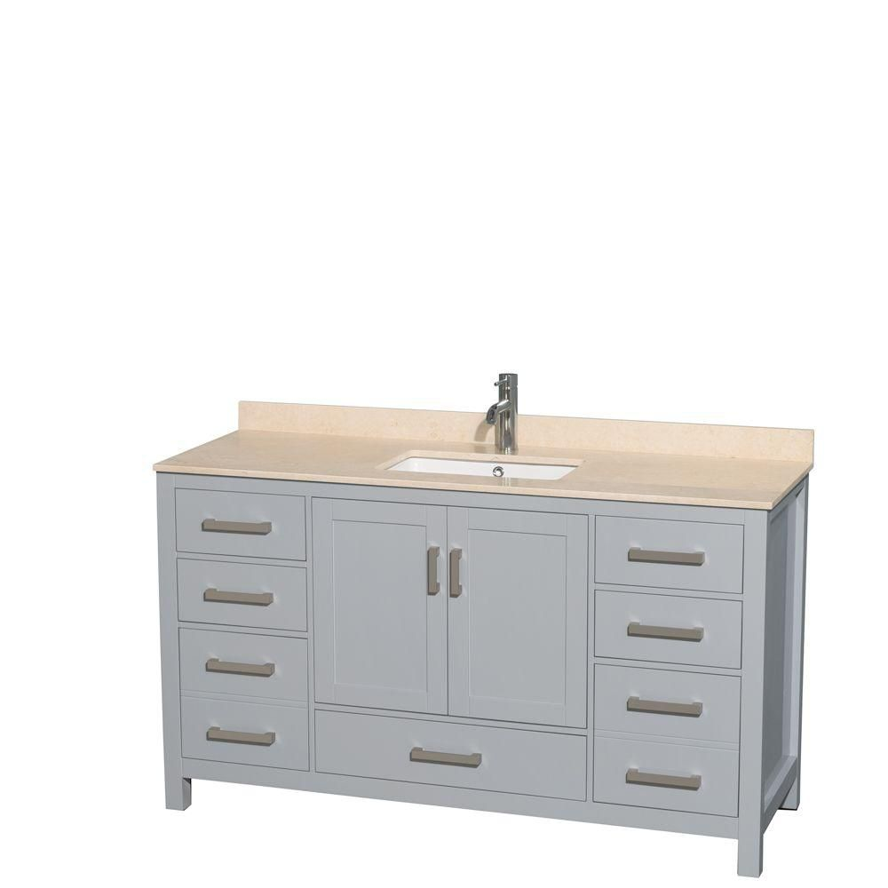 Sheffield 60-inch W Vanity in Grey with Marble Top in Ivory and Square Sink