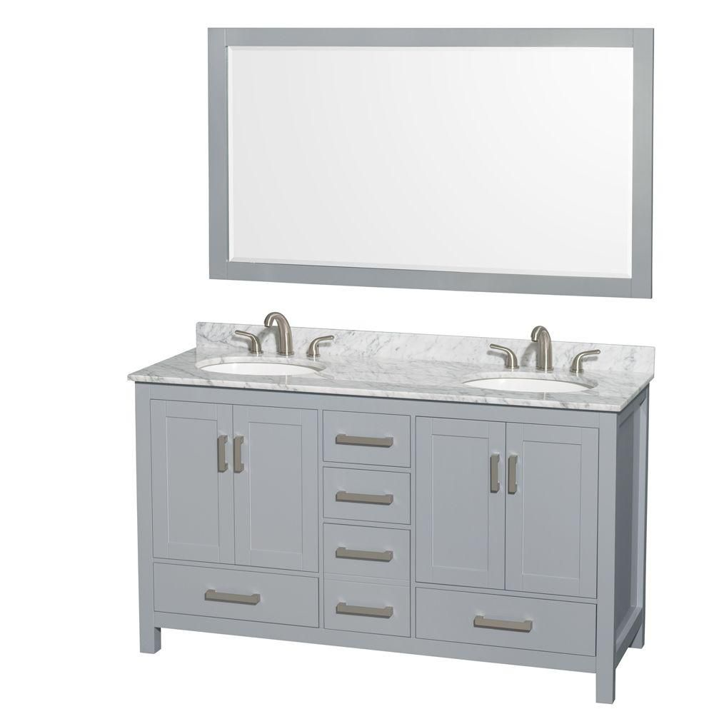 Sheffield 60-inch W Double Vanity in Grey with Marble Top, Oval Sinks and 58-inch Mirror