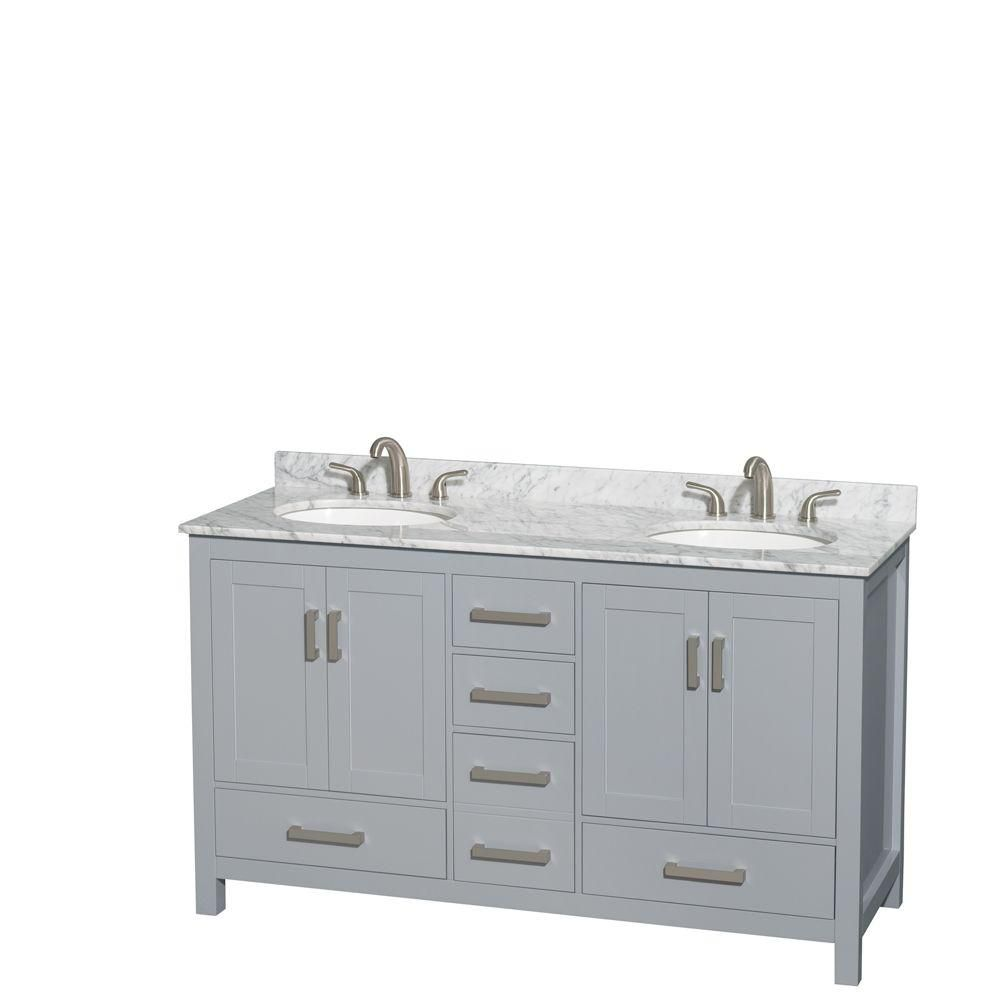 Sheffield 60-inch W Double Vanity in Grey with Marble Top and Oval Sinks