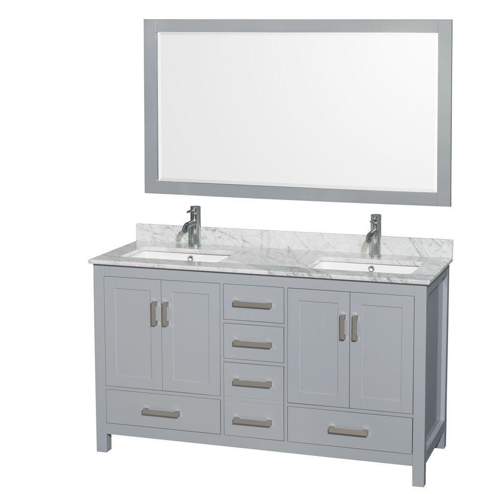 """Meuble s. bains dbl Sheffield 60"""" gris, comptoir marbre Carrera blanc, éviers carrés, miroir 58"""""""