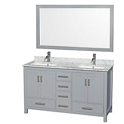 Wyndham Collection Sheffield 60-inch W 5-Drawer 4-Door Vanity in Grey With Marble Top in White, 2 Basins With Mirror