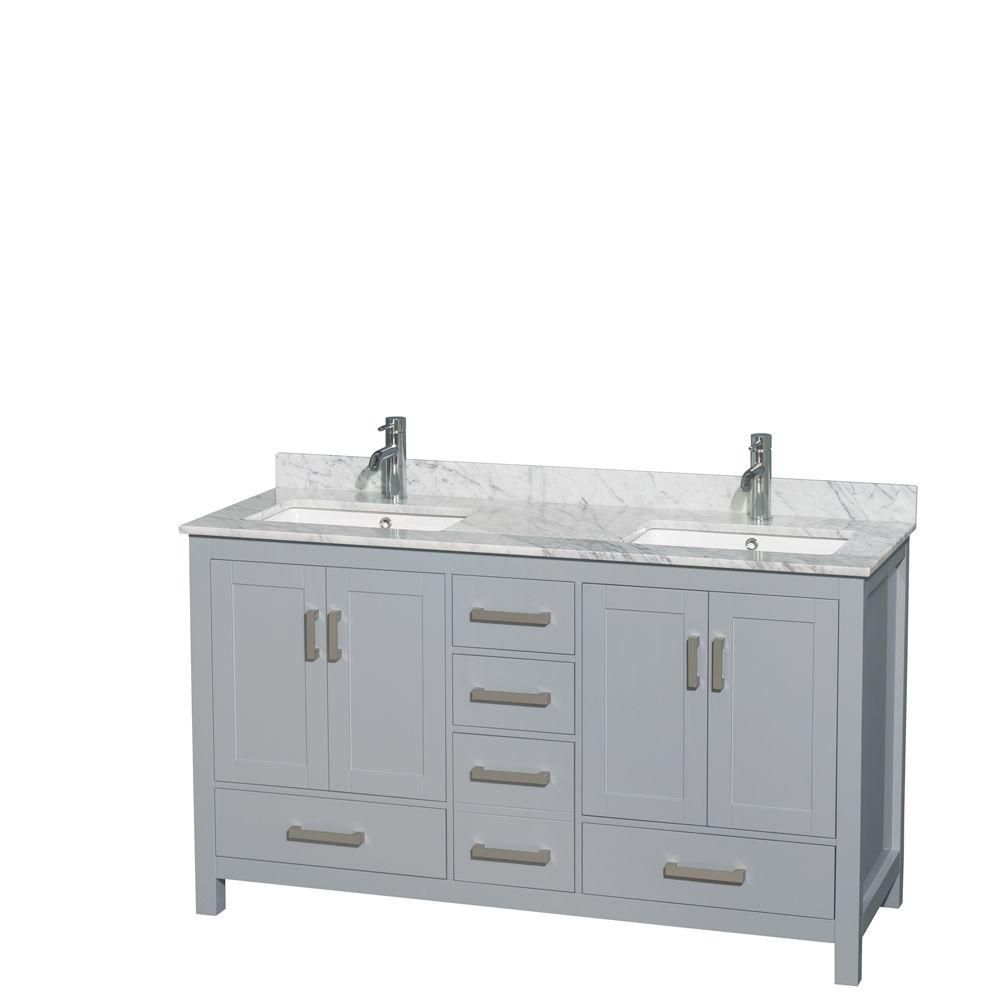 Sheffield 60-inch W Double Vanity in Grey with Marble Top and Square Sinks