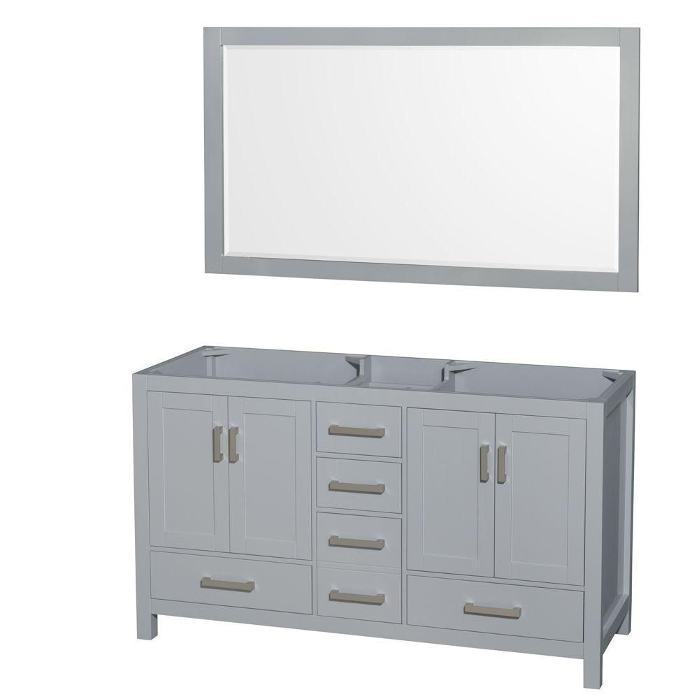 Sheffield 60-Inch  Double Vanity Cabinet with Mirror in Grey