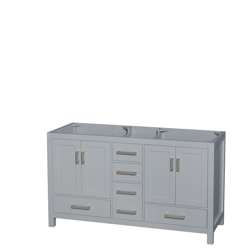 Sheffield 60-Inch  Double Vanity Cabinet in Grey