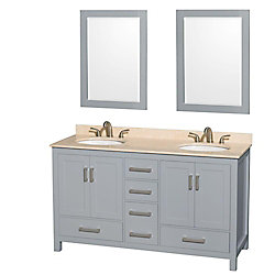 Wyndham Collection Sheffield 60-inch W 5-Drawer 4-Door Vanity in Grey With Marble Top in Beige Tan, Double Basins