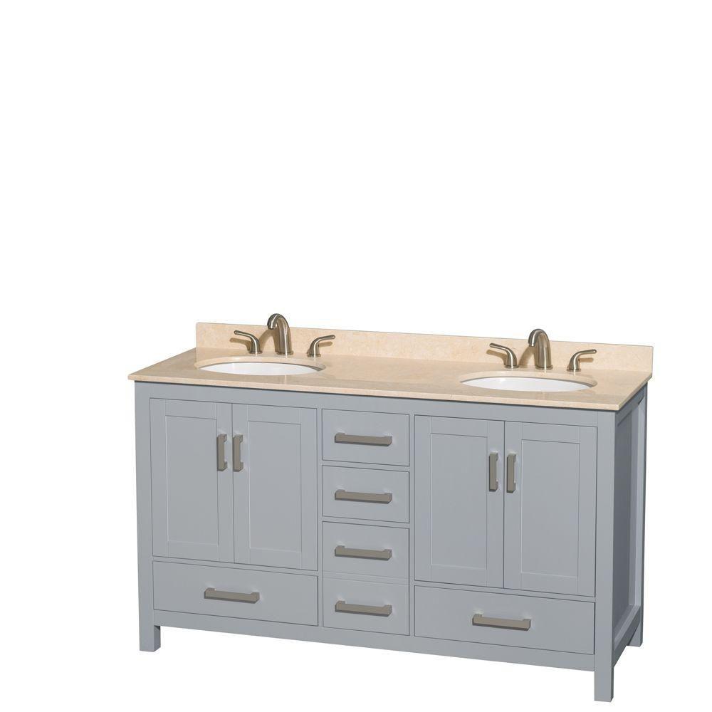 """Meuble s. bains dbl Sheffield 60"""" gris, comptoir marbre ivoire, éviers ovales, pas miroir"""