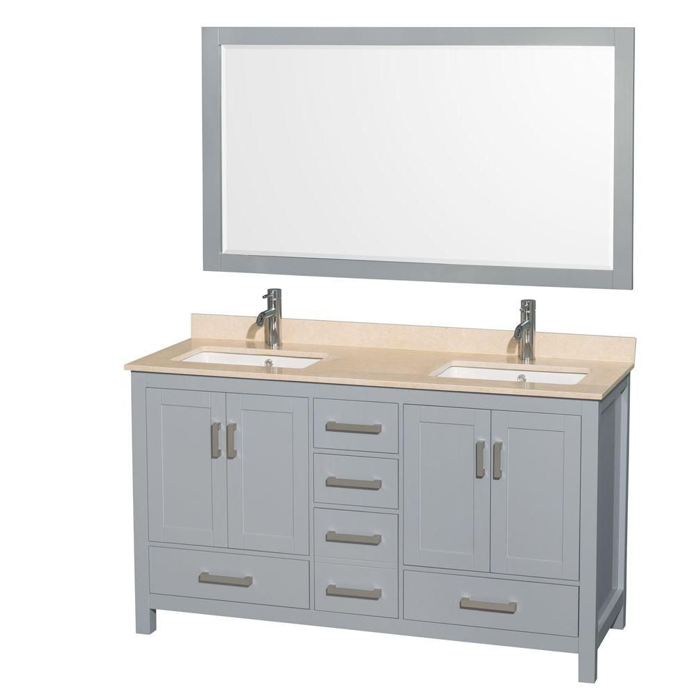 Sheffield 60-inch W Double Vanity in Grey with Marble Top, Square Sinks and 58-inch Mirror