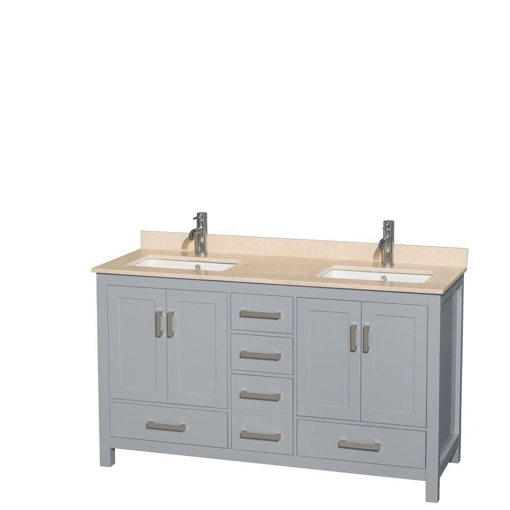 Sheffield 60-inch W Double Vanity in Grey with Marble Top in Ivory and Square Sinks