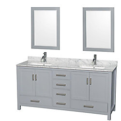 Wyndham Collection Sheffield 72-inch W 5-Drawer 4-Door Vanity in Grey With Marble Top in White, 2 Basins With Mirror