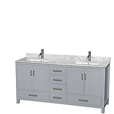 Sheffield 72-inch W 5-Drawer 4-Door Freestanding Vanity in Grey With Marble Top in White, 2 Basins