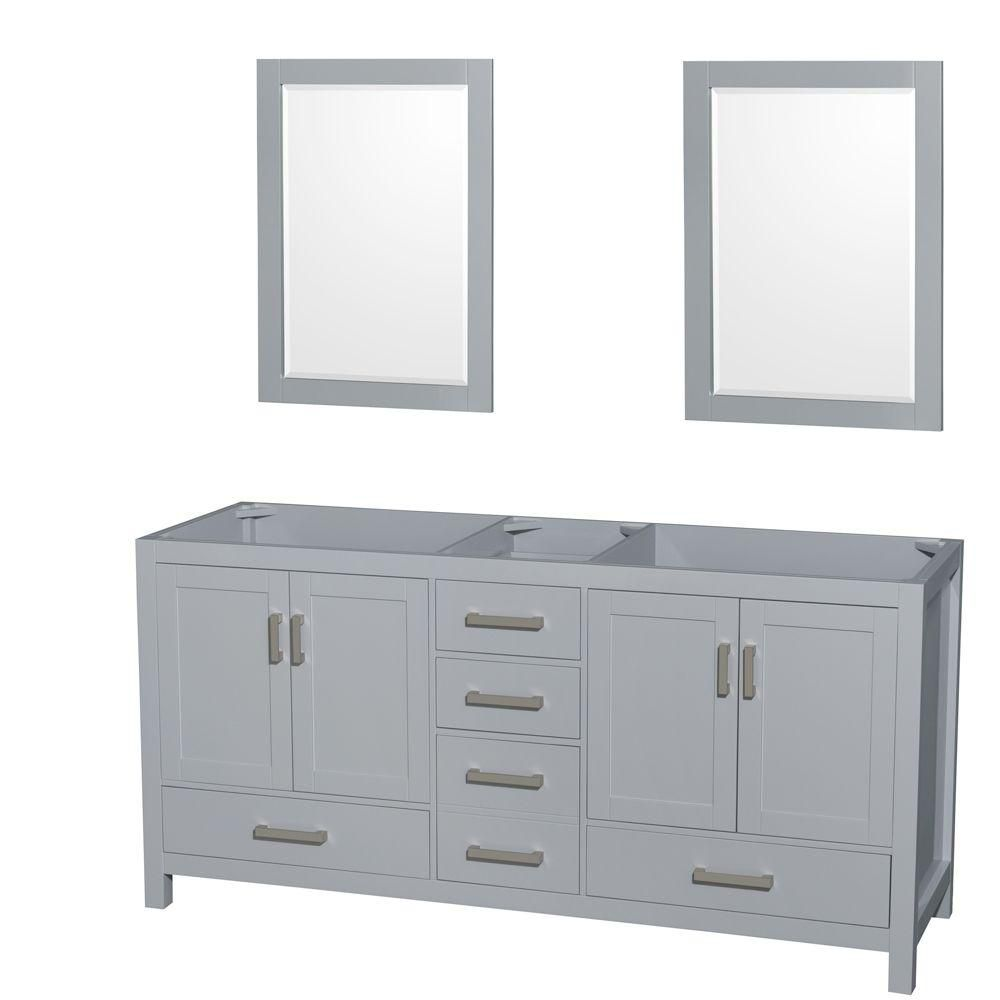 Wyndham Collection Sheffield 72-Inch  Double Vanity Cabinet with Mirrors in Grey