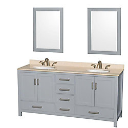 Wyndham Collection Sheffield 72-inch W 5-Drawer 4-Door Vanity in Grey With Marble Top in Beige Tan, Double Basins