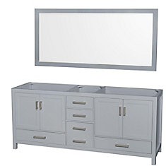 Wyndham collection sheffield 80 inch double vanity cabinet with mirror in grey the home depot for 80 bathroom vanities without tops