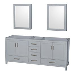Wyndham Collection Sheffield 80-inch Double Vanity Cabinet with Medicine Cabinets in Grey