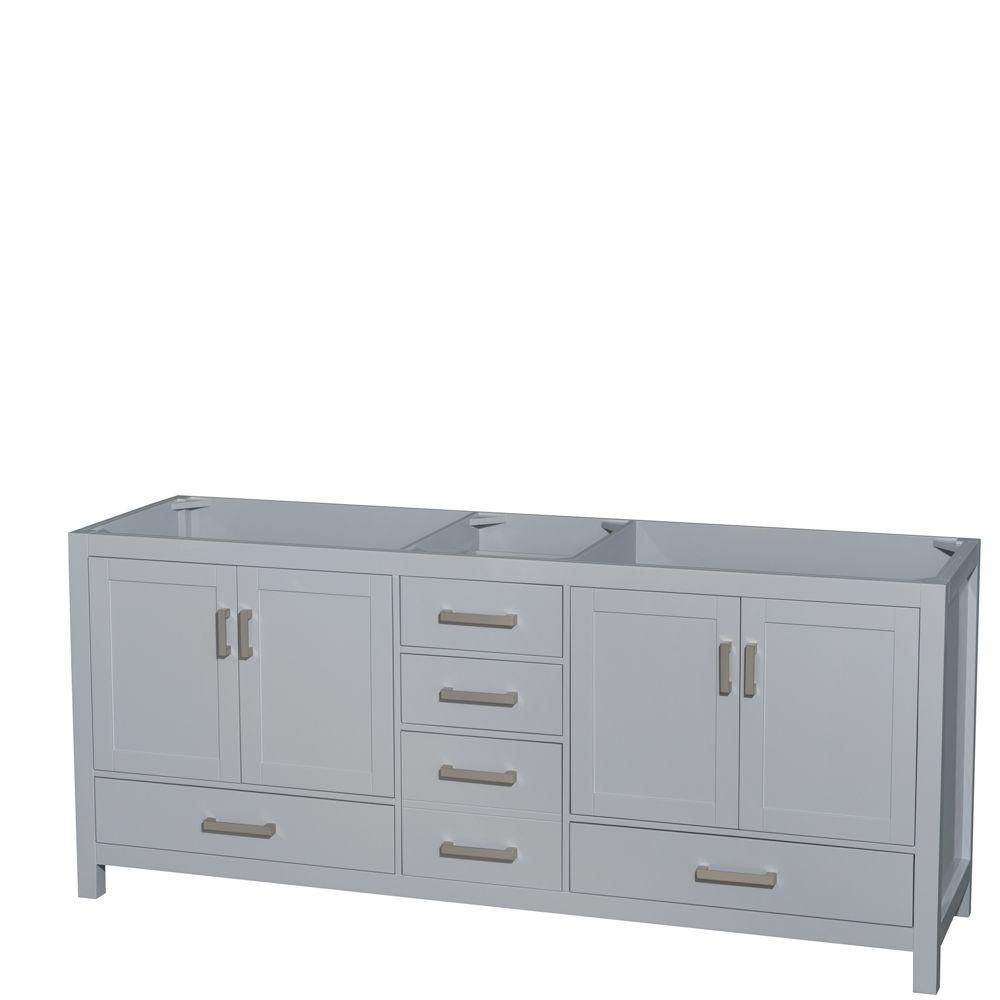 Wyndham Collection Sheffield 80-Inch  Double Vanity Cabinet in Grey