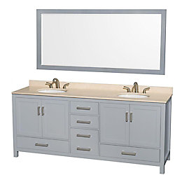 Wyndham Collection Sheffield 80-inch W 5-Drawer 4-Door Vanity in Grey With Marble Top in Beige Tan, Double Basins