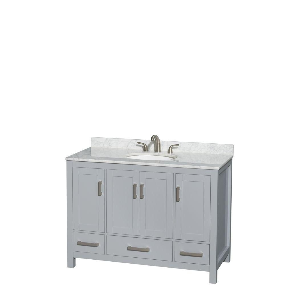 Sheffield 48-inch W Vanity in Grey with Marble Top in White Carrara with Oval Basin