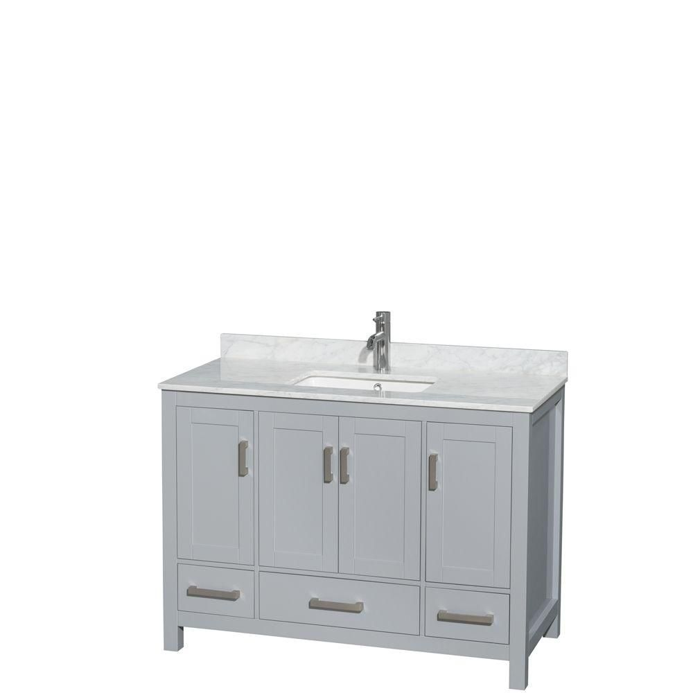 Sheffield 48-inch W Vanity in Grey with Marble Top in White Carrara with Square Basin