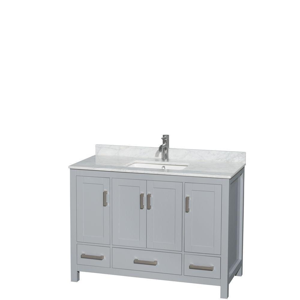 """Meuble s. bains simple Sheffield 48"""" gris, comptoir marbre Carrera blanc, éviers carrés, pas miro..."""