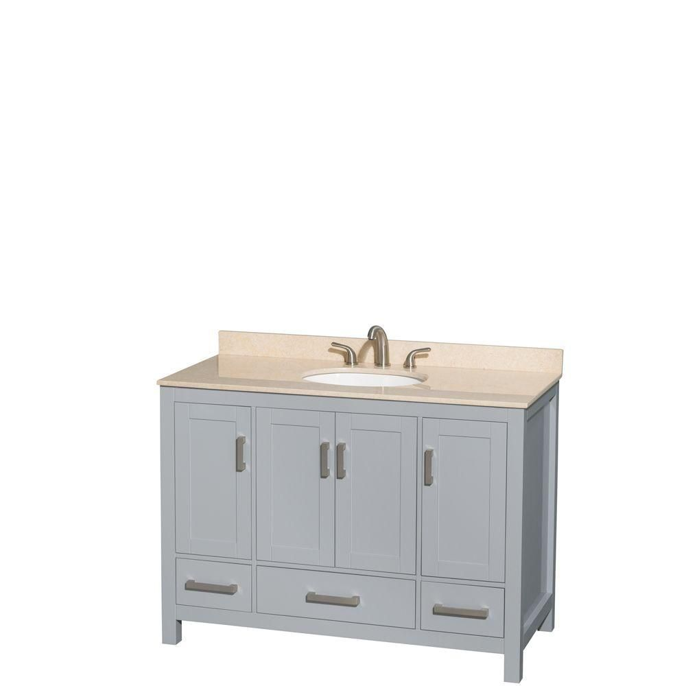 Sheffield 48-inch W Vanity in Grey with Marble Top in Ivory with Oval Basin